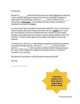 Back to School Parent Letter for High School Teachers