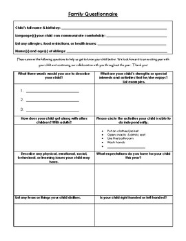 Beginning of the Year Parent Questionnaire
