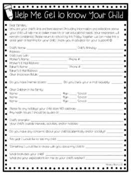 Beginning of the Year Parent Questionnaire - Help Me Get To Know Your Child