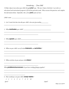 Beginning of the Year Parent Survey-2 pages