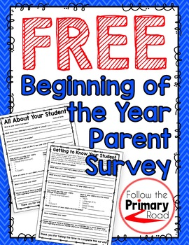 Beginning of the Year Parent Survey | FREE