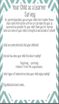 Beginning of the Year Parent Surveys