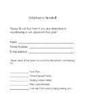 Beginning of the Year Parent Volunteer Form!