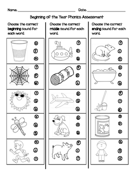 Beginning of the Year Phonics Assessment