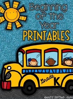 Beginning of the Year Printables for Kindergarten