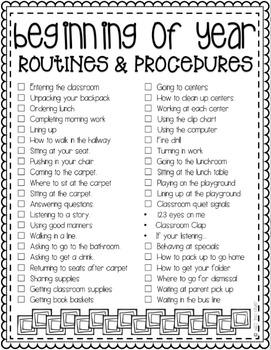 Beginning of the Year Procedures