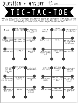 Beginning of the Year-Q&A TicTacToe