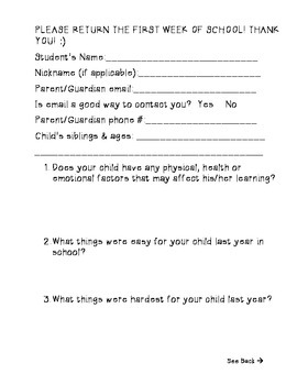 Beginning of the Year Questionnaire