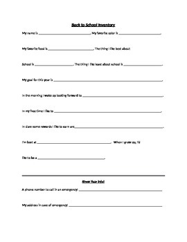 Beginning of the Year Questionnaire and Responsibility Quiz