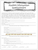 Beginning of the Year Questionnaire - for parents to fill out about their child