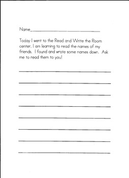 Beginning of the Year Read and Write the Room