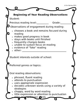 Beginning of the Year Reading Observations
