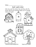 Beginning of the Year Roll and Color Worksheet
