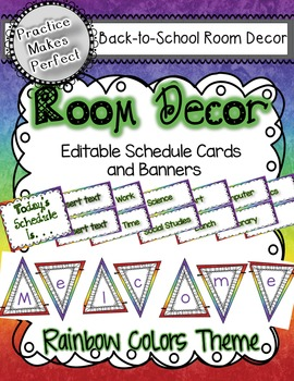 Room Decor Rainbow Theme Schedule Cards and Banners