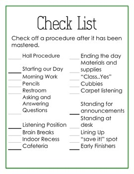 Beginning of the Year Routines and Procedures
