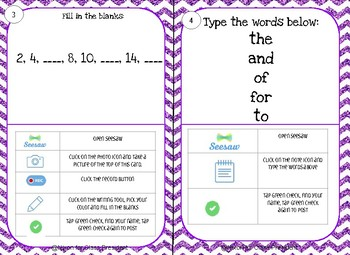 Beginning of the Year SEESAW task cards K/1st grade