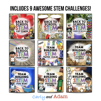 Beginning of the Year STEM BUNDLE: 9 Challenges Included- NGSS Aligned