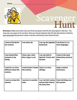 Beginning of the Year Scavenger Hunt