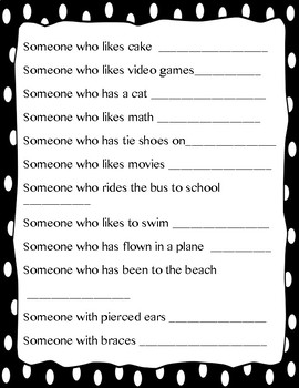 Beginning of the Year Scavenger Hunt and Interview