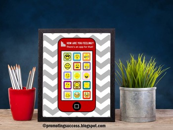 Counseling Office Decor Feelings and Emotions Chart, School Counselor Poster