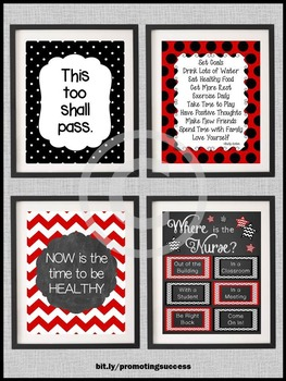 Where is the School Nurse Posters SET, Red and Black Nursing Office Decor BUNDLE