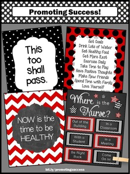 Where Is The Nurse Sign Red And Black Nursing Office Door Sign NOT EDITABLE