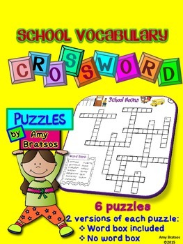 Beginning of the Year School Vocabulary Crossword Puzzles