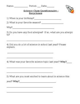 Beginning of the Year Science Questionnaire
