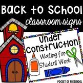 Back to School Bulletin Board Signs for Preschool, Pre-K, and Kindergarten