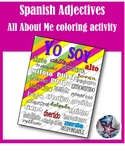 First day of School Spanish Adjectives Coloring Activity - All about me