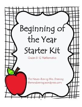Beginning of the Year Starter Kit (8-12 Mathematics)