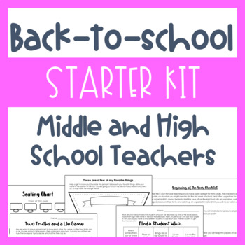 Back-to-School Starter Kit (Middle and High School Math) Activities, Sub Binder