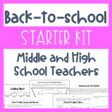 Back-to-School Starter Kit (Middle and High School) Activities, Sub Binder