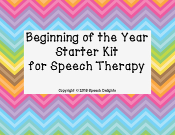 Beginning of the Year Starter Kit for Speech Therapy