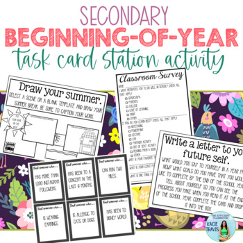 Beginning of the Year Station Task Card (Get-to-Know-You) Activity for Secondary