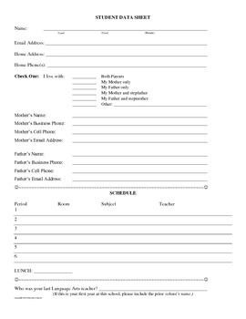 Beginning of the Year Student Data Information Sheet