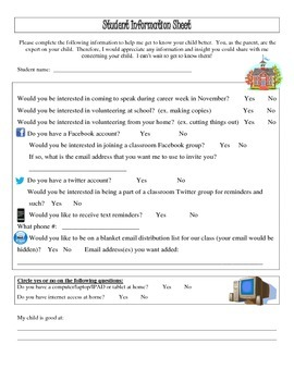 Beginning of the Year Student Information Form