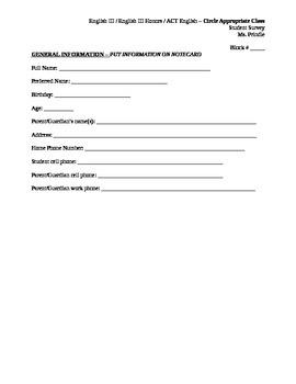 Beginning of the Year Student Interest Survey