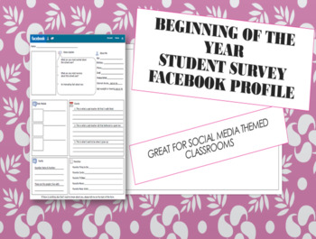 Beginning of the Year Student Survey ( Facebook About Me Profile) All Grades