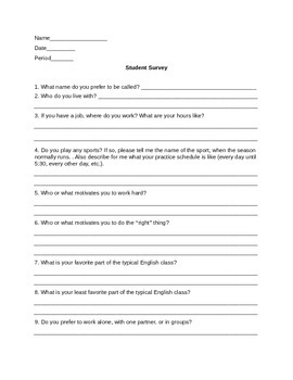 Beginning of the Year Student Survey for Middle and High School English Teachers
