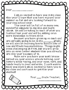 Beginning of the Year Student and Parent Letters