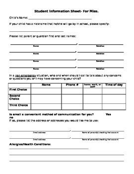 Beginning of the Year Student information sheet