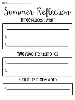 Back to School / Summer Reflection - 3, 2, 1 activity
