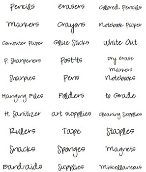 Back to School Supply Labels!