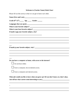 Beginning of the Year Survey for Math Class