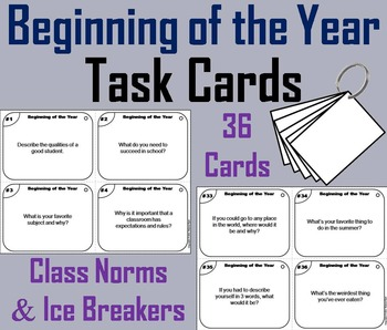 Beginning of the Year Task Cards/ First Week of School Task Cards Activity