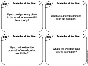 Beginning of the Year Task Cards:  Back to School Ice Breakers and Expectations
