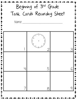 Beginning of the Year Task Cards Scoot Activity Third Grade