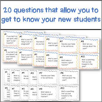NO PREP Back to School Icebreaker Task Cards and Bingo