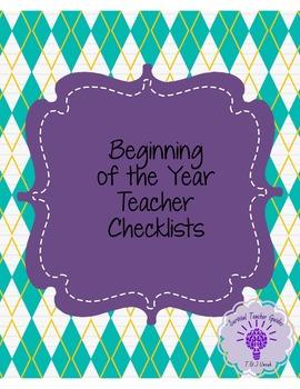 Beginning of the Year- Teacher Checklists